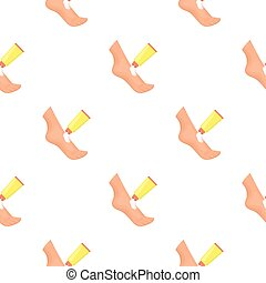 Cream for feet icon in cartoon style isolated on white background. Skin care pattern stock vector illustration.