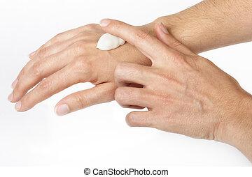 Cream hands - Applying cream on hands