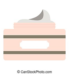 Cream in a jar icon, flat style