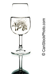 Cream in glass - Silhouette of a glass container a creamy...