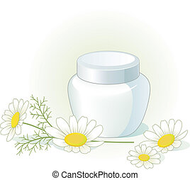 Cream jar and chamomile flowers on the pale green...