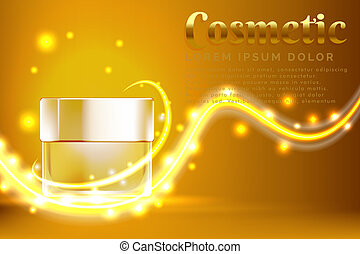 cream jar cosmetic products ad, with shiny gold background