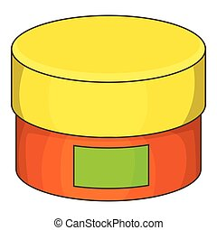 Cream jar icon, cartoon style
