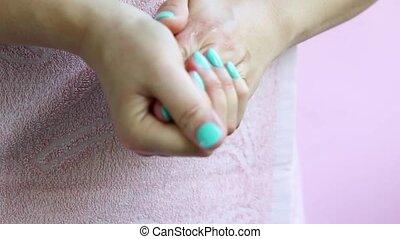cream., lichaam, smears, vrouw, handen, care.