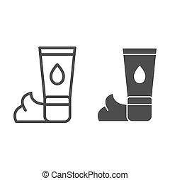 Cream line and glyph icon. Skin ointment vector illustration isolated on white. Skin care outline style design, designed for web and app. Eps 10.