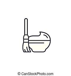 Cream linear icon concept. Cream line vector sign, symbol, illustration.