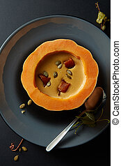Cream of pumpkin soup with seeds