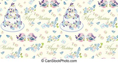 Cream pattern with wedding cake and flowers.