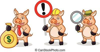 Cream Pig Mascot with sign
