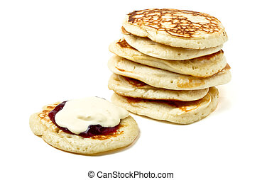 Cream Scones - Homemade drop scones or pancakes with clotted...
