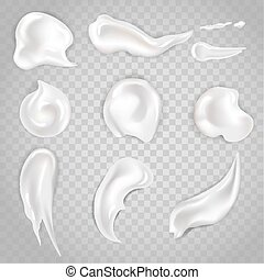 Cream smears and cosmetic blobs vector 3d realistic icons...
