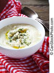 Cream soup in a white bowl