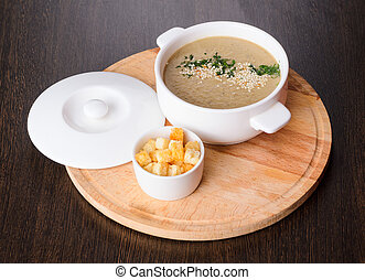 Cream soup on plate