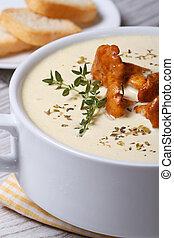 cream soup with chanterelles close up vertical