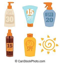 Cream sunscreen bottle isolated on white background vector...