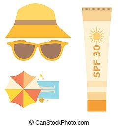 Cream sunscreen bottle vector icon sunblock cosmetic summer...