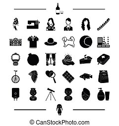 cream, toy, appearance and other web icon in black style. clothes, equipment icons in set collection.