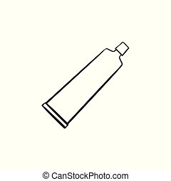 Cream tube hand drawn sketch icon. - Cream tube hand drawn...