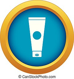 Cream tube icon blue vector isolated on white background for...