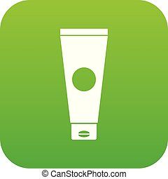Cream tube icon digital green for any design isolated on...