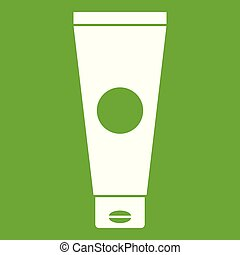 Cream tube icon green - Cream tube icon white isolated on...
