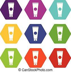 Cream tube icon set color hexahedron - Cream tube icon set...