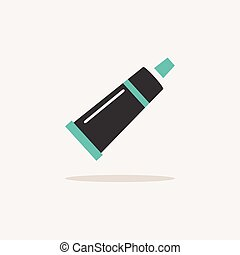 Cream tube. Icon with shadow on a beige background. Pharmacy vector illustration