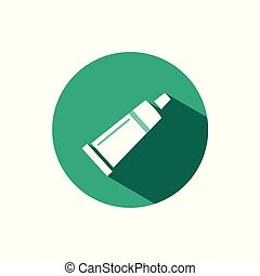 Cream tube icon with shadow on a green circle. Vector pharmacy illustration