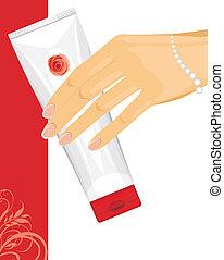 Cream tube in female hand. Vector illustration