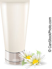 Cream tube with camomile isolated on white background