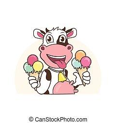 cream., vaca, gelo, personagem, mascote, segurando