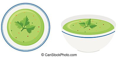 Cream vegetable soup in bowl