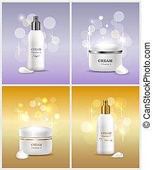 Cream Vitamin A Collection Vector Illustration