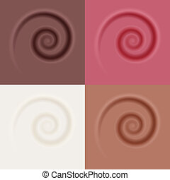 cream yogurt chocolate caramel jam swirl - vector illustration. eps 10