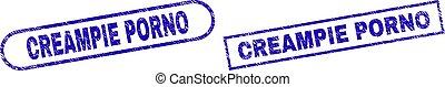 CREAMPIE PORNO Blue Rectangle Seal with Distress Texture - ...