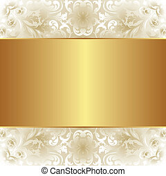 creamy and gold background with floral ornaments