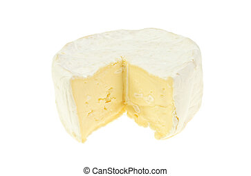 Creamy Brie cheese isolated on white