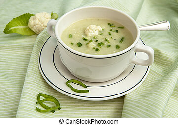 cauliflower soup - Creamy cauliflower soup with fresh chives