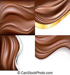 creamy chocolate on white background set. vector