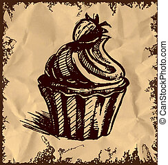 Creamy cup cake on vintage background - Creamy cup cake with...