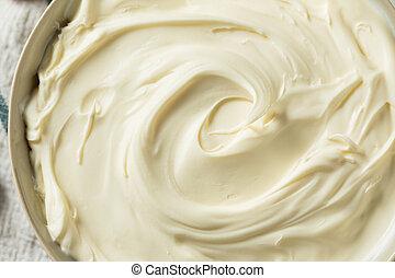 Creamy Homemade Mascarpone Cheese in a Bowl