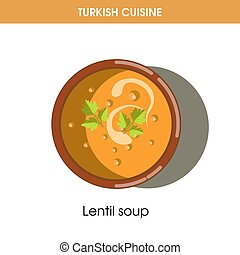 Creamy Lentil soup in bowl from Turkish cuisine