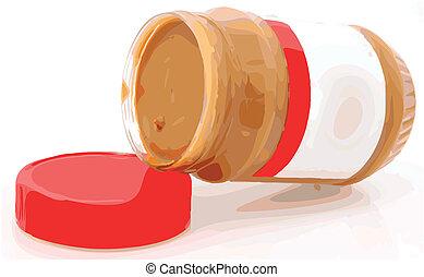 Creamy Peanut Butter Color Vector Illustration - Open jar of...