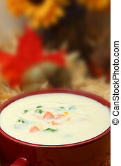 Creamy Potato Vegetable Soup - Bowl of creamy vegetable soup...