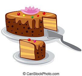 creamy tart - illustration of the tart on the white ...