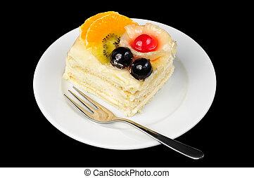 creamy tart with friuts on top - piece of fancy creamy tart...