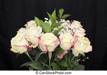 Creamy White Pink Roses Bouquet
