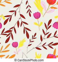 Creamy with pink flowers and brown leaves seamless pattern background design.