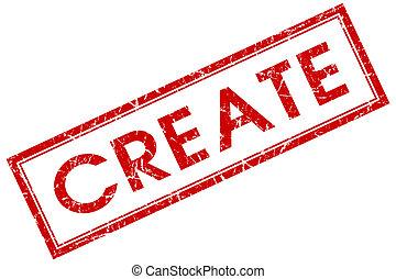 crear, cuadrado rojo, estampilla, aislado, blanco, plano de fondo