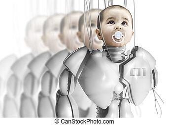 crear, ingeniería, clones, genético, niño, robot